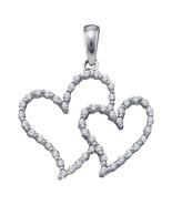 10k White Gold Womens Round Diamond Double Heart Outline Pendant 1/5 Cttw - $160.00