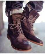 New Men's handmade leather Boots, Pure Leather Wingtip Dress Lace Up Boots. - $184.29