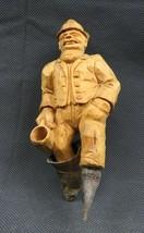 Antique 1900 German Black Forest Carved Wood Figural real Horns Hook Rack image 2