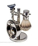 Kingsley Four Piece Silver Plated Shave Set with MACH3 Safety Razor - $47.00