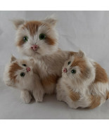 Cats with Kittens Real Rabbit Fur Vintage Glass Eyes 6 X 4 X 5 made in A... - $29.69