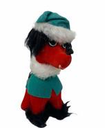 "Vintage Dakin DREAM PETS 6 1/2"" Red Dog Black Fur Santa Hat Sawdust Animal Toy - $22.00"