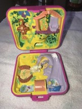 Polly Pocket Vintage Wild Zoo World 1989 Pink Compact Flocked Bear & Monkey - $23.99