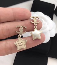 Authentic Chanel RARE CC Logo Star Dangle Drop Gold Earrings image 4