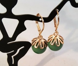 VINTAGE GOLD TONE GREEN LEVER BACK EARRINGS - $4.95