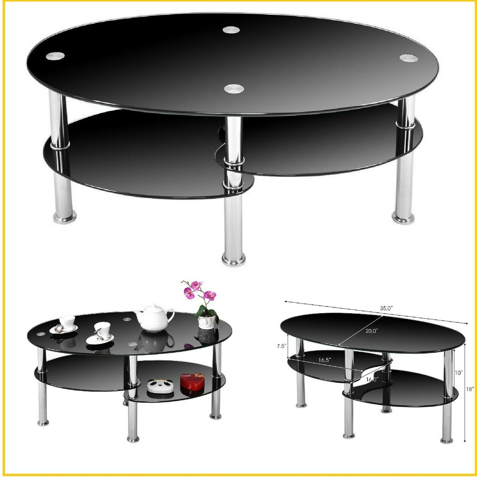 Small Coffee Table With Storage Modern Round Glass End