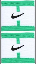 New Nike Dri-Fit Stealth Wristbands Bracelets White/Green Tennis ONE SIZE - $18.97