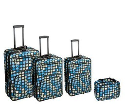 Rockland Luggage Dots 4 Piece Luggage Set, Multiple Blue Dots, One Size - $98.46