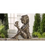 "Large Garden Statue  17"" x 17"" Sitting Girl Holding Fairy Polystone Grey... - $205.34"