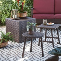 Set of 3 Outdoor Brown Resin Wicker Patio Table Set Side Tables All Weather - $149.47