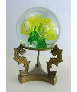 Floral Bubble  Orb Swirl Art Glass Paperweight Figurine On Brass Stand 4... - $23.89
