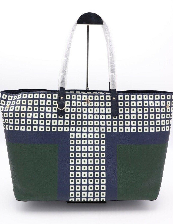 NWT Tory Burch Kerrington Square Tote Green Milano Shoulder Bag New  $298
