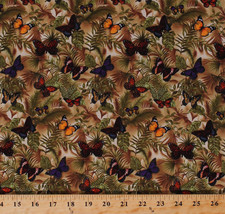 Cotton Butterfly Butterflies Nature Ferns Leaves Cotton Fabric Print BTY... - $11.49