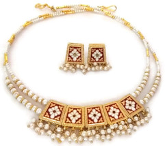 Indian Bridal Necklace Gold Plated Reversible Maroon Brown White Pearl Jewelry S - $15.99