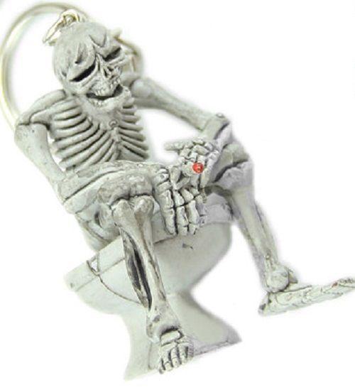 Funny Novelty Skeleton on a Toliet Rubber Keychain