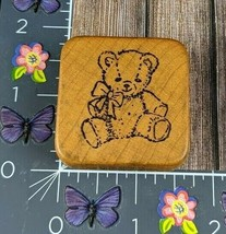 CoMotion Rubber Stamp Teddy Bear Sitting Classic Bow Toy Wood #M65 - $6.92