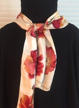 Vintage Adrienne Vittadini rectangular silk scarf (Cream with flowers)