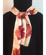 Vintage Adrienne Vittadini rectangular silk scarf (Cream with flowers) - $30.00