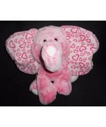 "Aurora Pink Elephant Plush Stuffed Animal Big Ears Hearts White Frosted 11"" - $14.29"