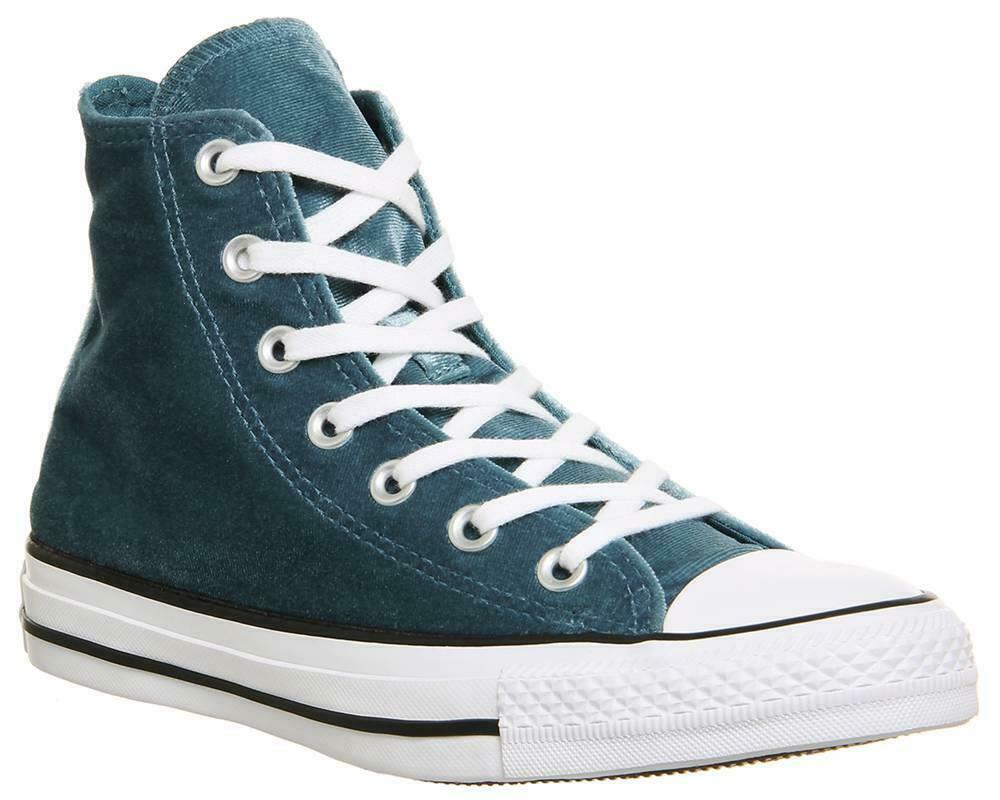 Converse Fabulous Chic Teal Soft Velvet Lined High Top Shoes Wm's Sizes NWT