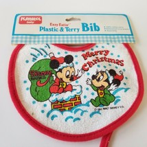 Vintage Playskool Disney Plastic Bib Easy Eatin Neck Tie Christmas Micke... - $16.44