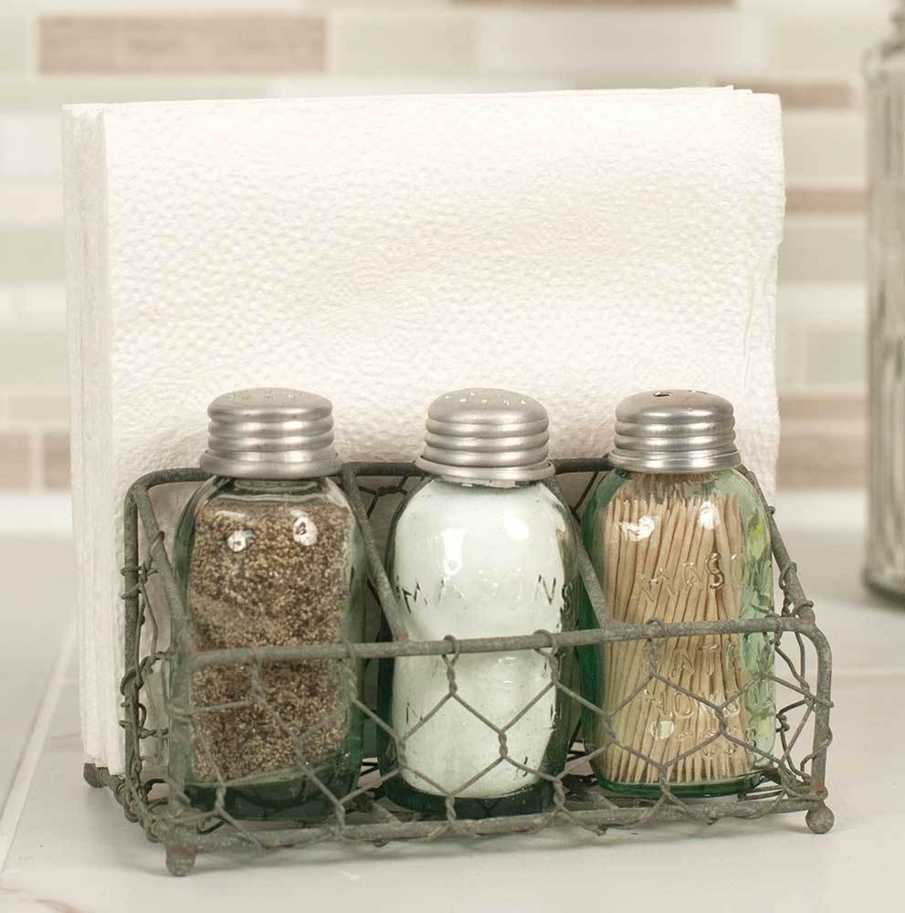 Primary image for Country Napkin Holder Salt & Pepper Shaker Set Toothpick Holder Chicken Wire