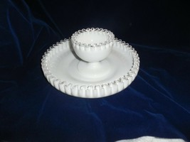 Fenton Glass Co. White Milk Glass  Silver Crest 2-piece Chip and Dip Set - $58.16