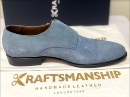 Handmade Men's Gray Suede Double Buckle Strap Dress/Formal Shoes image 8