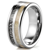 Real Antler Elk Ring, Men and Women Tungsten Carbide Wedding Band Meteorite Ring - $38.90