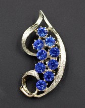 Vintage Gold Tone Brooch Pin Made with Swarovski Crystals Sapphire Blue - $9.89