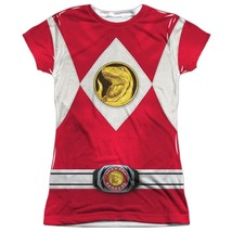 Official Power Rangers TV Show Red Emblem Logo Costume Ladies Jr Front T... - $25.99+