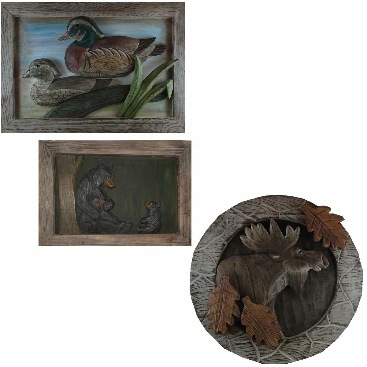 Primary image for New Carved Wood Rustic Decor Wall Plaque Bear Moose or Wood Ducks