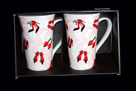 2 Large Fancy Red Chic High Heels Shoes Flare Latte Mugs 222 Fifth NIB Hvy DISC - $28.99