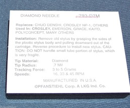 CROSLEY Turntable Stylus Replacement Needle NP-1 NP1 New for P-190 P-188D image 2