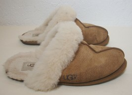 Ugg Australia Slippers Tan Suede Shearling Slip On Shoes Scuffette WARM ... - £22.26 GBP
