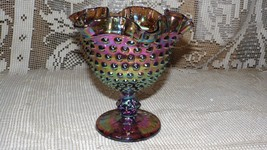 IMPERIAL MILLERSBURG CARNIVAL GLASS COMPOTE CANDY BOWL HOBNAIL FLUTED TOP - $54.66