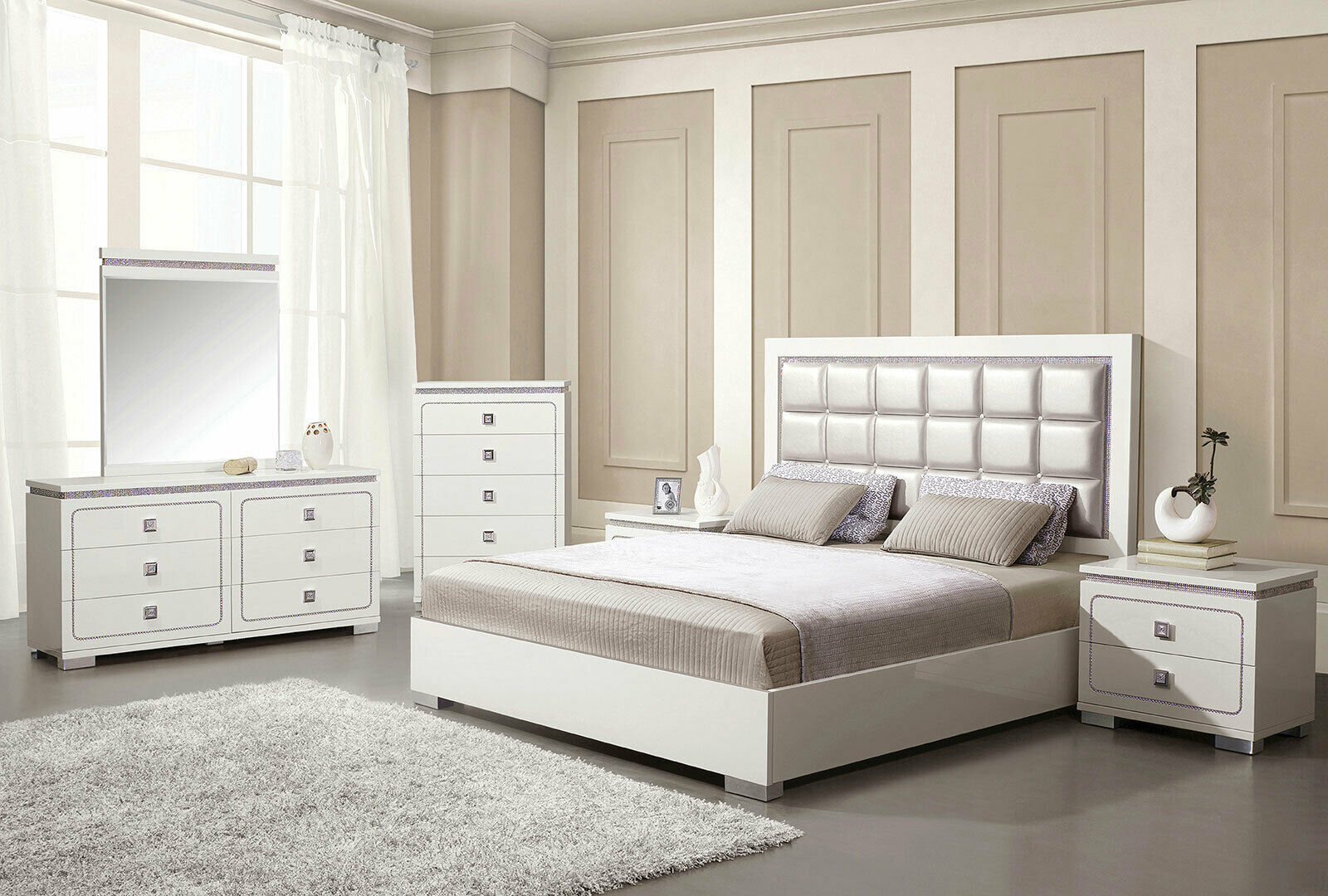 NEW Glamorous White & Pearl Faux Leather Bedroom Furniture