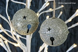 POTTERY BARN GERMAN GLITTER JINGLE BELL ORNAMENTS (2) -NWT- CHIME IN WIT... - $24.95