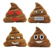 StylesILove 14-inch Emoji Smiley Poop Plush Stuffed Toy Throw Pillow - $12.99