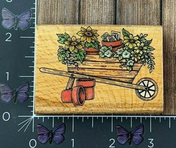 StampCraft Wheelbarrow Full Of Flowers Rubber Stamp STC050 Wood #V108 - $5.20