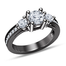 Diamond Three Stone Engagement Ring In 14K Black Gold Finish 925 Sterlin... - $79.98