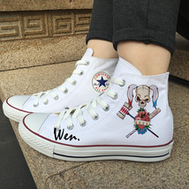 Original Design Skull Girl Baseball Bat Canvas White Shoes High Top Converse - $119.00