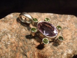 Vintage Sterling With Amethyst And Peridot 28 Mm Pendant 8.38 Grams - $44.55
