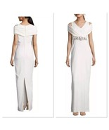 New Designer White Ivory Badgley Mischka Womens 6 Gown Dress Bead Crysta... - $352.00
