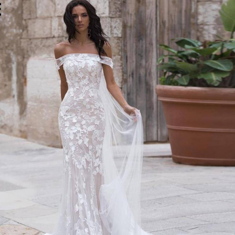 E mermaid wedding dresses with long train 2020 off the shoulder boho lace bridal gowns champagne