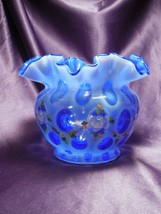Fenton Museum Collection 2004 Hand Painted Flower Detail Blue Glass Art ... - $49.50