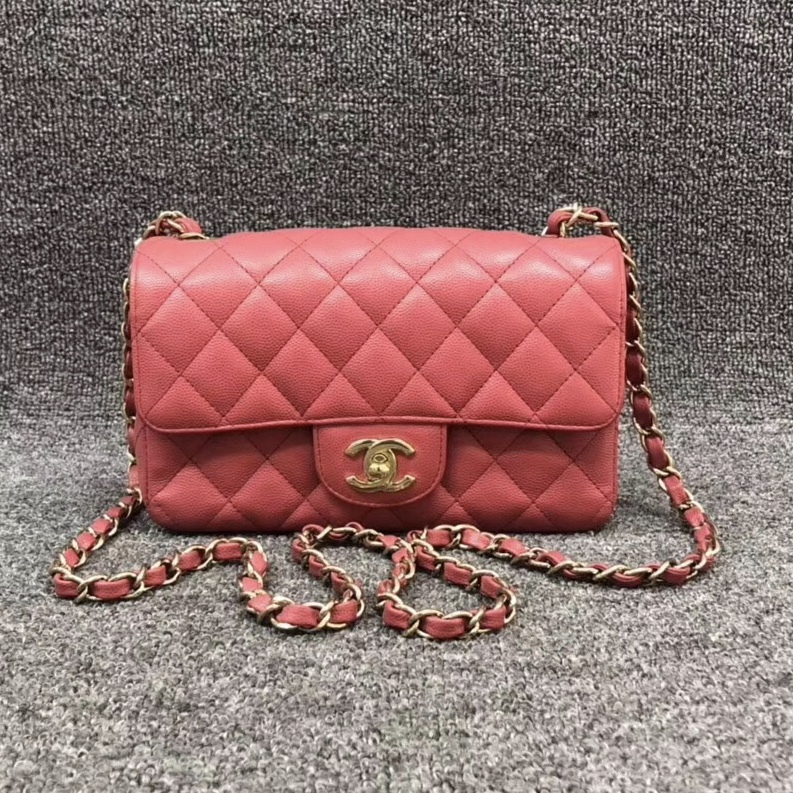 100% AUTH Chanel Pink Quilted Caviar Large Mini 20CM Flap Bag GHW