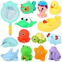 Geyiie Baby Bath Toys, 14pcs Fun Baby Bathtub Toy with Fishing Net,Swimming Pool