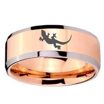 10mm Lizard Beveled Edges Rose Gold Tungsten Carbide Mens Ring - $44.99