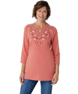 Denim & Co. Plus 2X Round Neck 3/4-Sleeve Tunic with Neck Detailing Desert Coral - $18.52